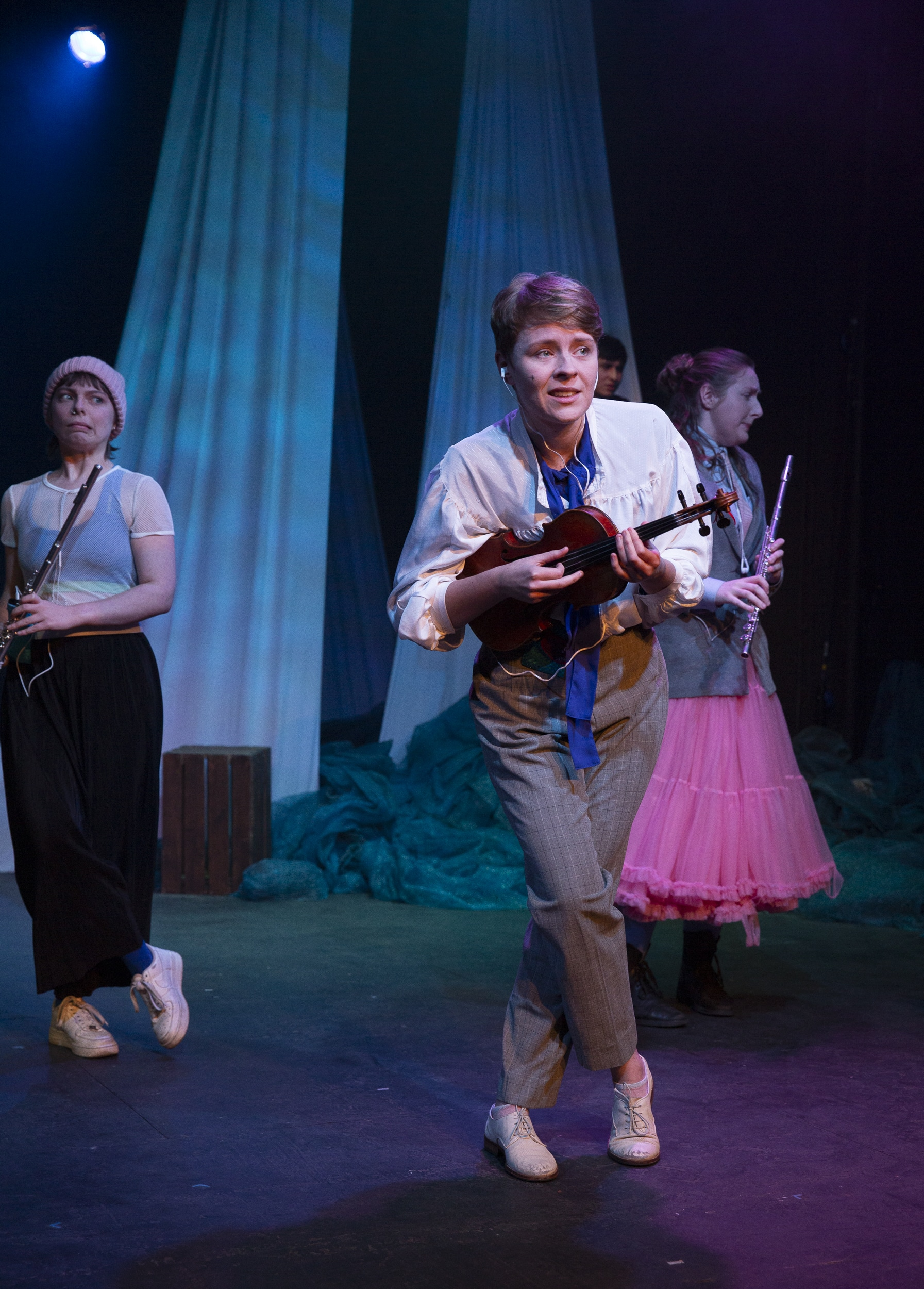 Rose Bruford College MA Actor Musicianship student playing instrument in a show