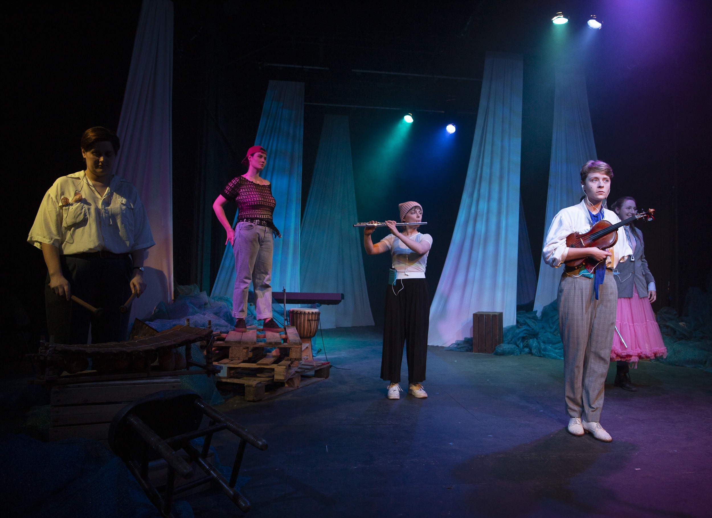 Rose Bruford College MA Actor Musicianship students in the productions Unshore