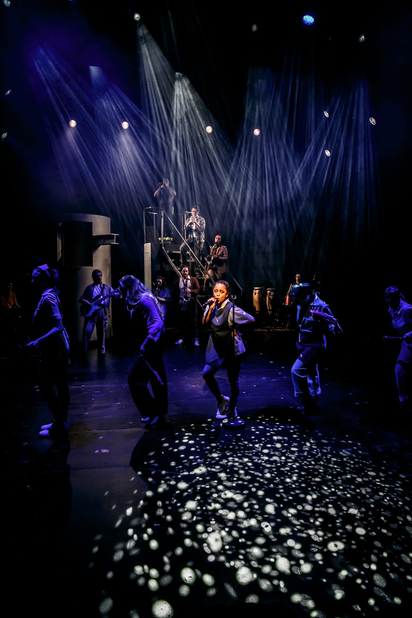 Production photo of the musical Working starring Rose Bruford College students
